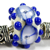 Handmade Large Hole Lampwork Beads, Glass Flowers Dots Blue Ivory