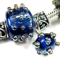 Handmade Large Hole Lampwork Beads, Glass Nugget Set, Cobalt Blue Metallic Dots