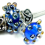 Handmade Large Hole Lampwork Beads, Glass Charm Set, Cobalt Blue Metallic Dots