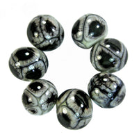 Handmade Lampwork Glass Beads, Copper Green Black Webs Metallic Shiny
