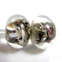 Handmade Lampwork Glass Bead Pairs, Twisted Sister Shiny