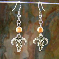 Silver Cow Skull Earrings, Wood Beads, Handmade Fashion Jewelry