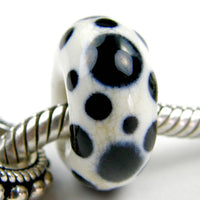 Handmade Large Hole Lampwork Beads, Dalmation Ivory Black Dots Shiny