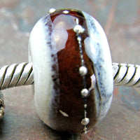 Handmade Large Hole Lampwork Beads, Ivory Dark Amber Rootbeer Band Silver Shiny