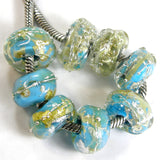 Handmade Large Hole Lampwork Beads, Glass Charms Nuggets Turqouise Ice Silver