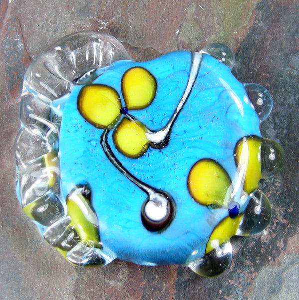 Handmade Lampwork Glass Focal Bead, Flowers, Sky Blue, Yellow, Shiny