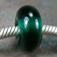 Handmade Large Hole Lampwork Beads, Euro Style Charms Dark Teal Green Shiny
