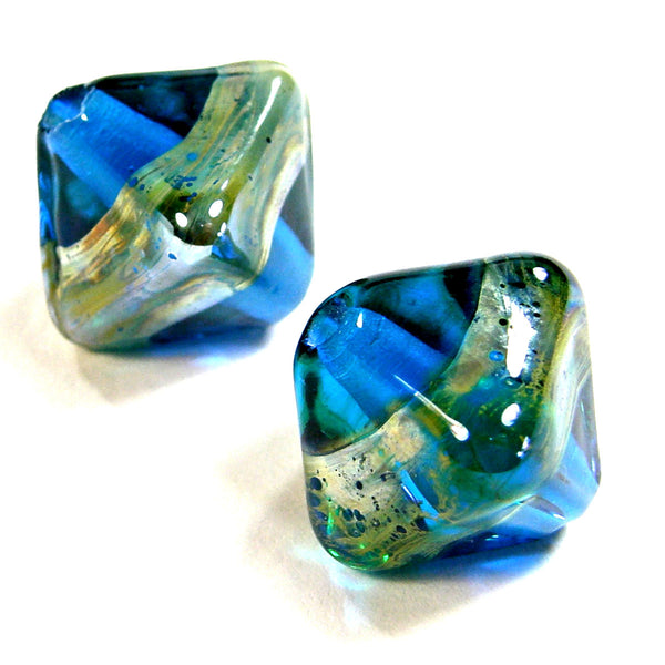 Handmade Lampwork Glass Diamond Beads, Dark Aqua Blue Aurae Band Shiny
