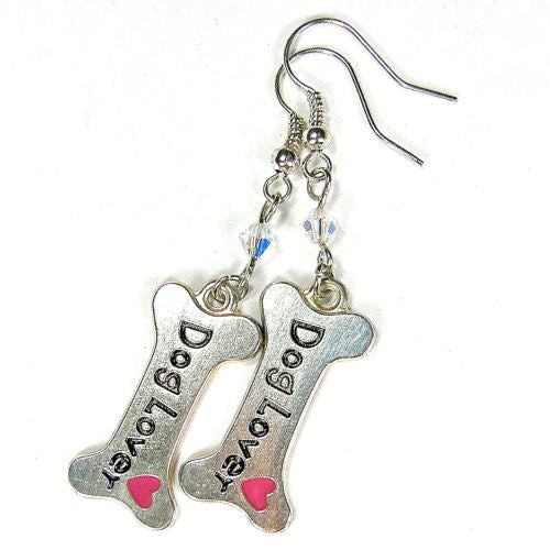 Dog Lover Earrings, Pink Heart Swarovski Crystals Handmade Silver Jewelry