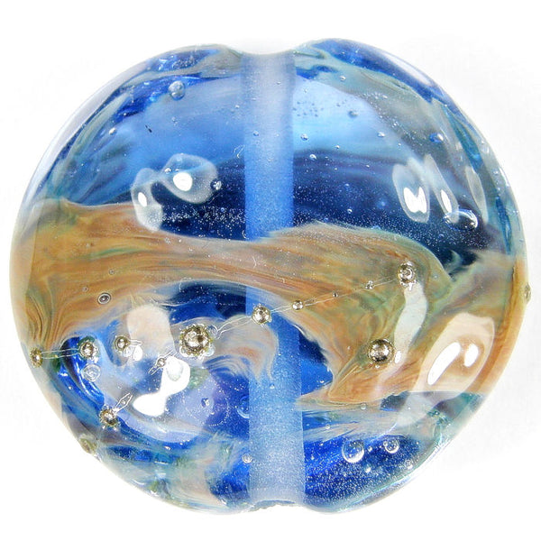 Handmade Lampwork Glass Focal Bead, Extra Large Lentil Transparent Blue Raku Silver