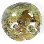 Handmade Lampwork Glass Focal Bead, Rustic Ivory Fine Silver Wrapped Shiny