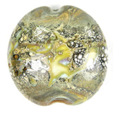 Handmade Lampwork Glass Focal Bead Organic Ivory Wrapped In Fine Silver