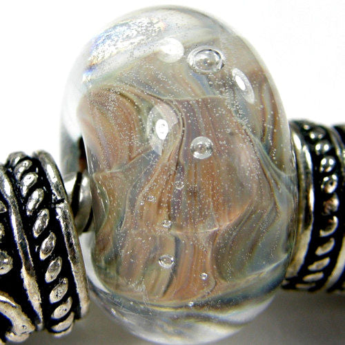 Handmade Large Hole Lampwork Beads, Glass European Beads, Encased Pandora Earthy