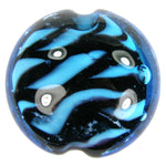 Handmade Lampwork Glass Focal Bead, Lentil, Blue, Zebra Stripes, Shiny
