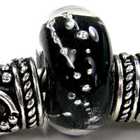 Handmade Large Hole Lampwork Beads, Glass Charm Encased Black Silver Shiny