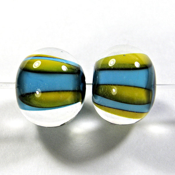 Handmade Lampwork Glass Bead Pairs, Dark Sky Blue Apricot Stripes Encased Shiny