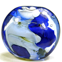 Handmade Lampwork Glass Focal Bead, XL Lentil Cobalt Blue White Silver Shiny