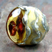 Handmade Lampwork Glass Focal Bead, XL Lentil Copper Disks Amber Honey Shiny