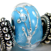 Handmade Large Hole Lampwork Beads, Encased Dark Sky Blue Silver