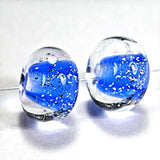 Handmade Lampwork Glass Beads, Intense Blue Sparkly Dichroic Clear Encased