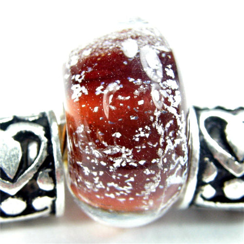 Handmade Large Hole Lampwork Beads, Glass Bracelet Charm Dichroic Amber Brown