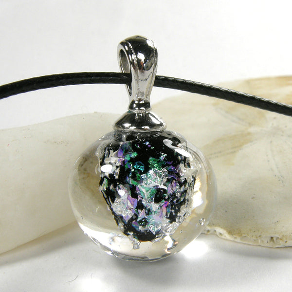 Enchanted Nebula Lampwork Galaxy Pendant Necklace Globe Sphere 20026