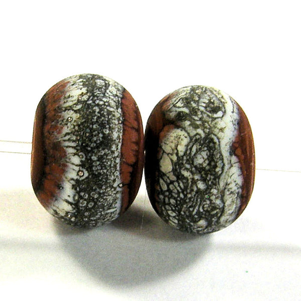 Handmade Lampwork Glass Band Beads, Hawaiian Clay Orange Snakeskin Band Etched