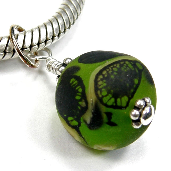 Abstract Green Black Ivory Pendant Charm, Sterling Silver Etched Handmade Jewelry