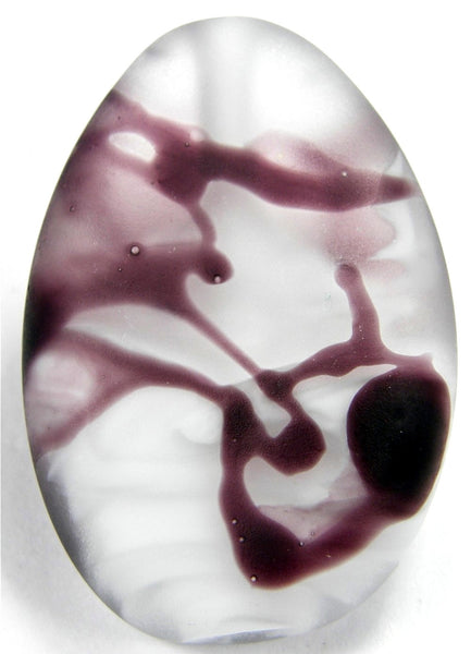 Handmade Lampwork Glass Focal Bead, Purple White Clear Frosted Etched