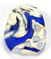 Handmade Lampwork Glass Focal Bead, Cobalt Blue Ivory Dots Etched