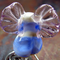Handmade Lampwork Glass Focal Bead, Fairy Bead Pink Wings Blue Shiny