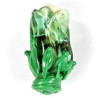 Handmade Lampwork Glass Focal Bead, Flower Bud Emerald Green Raku Ivory Shiny