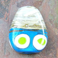 Handmade Lampwork Glass Focal Bead, Fossil Ivory Sky Blue Lime Silver Dots Shiny