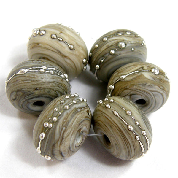 Handmade Lampwork Glass Beads, Fossil Ivory Silver Etched Matte 683efs
