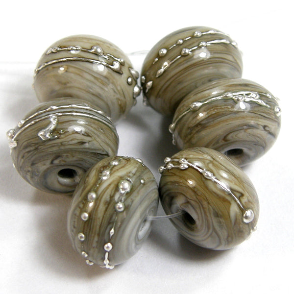 Handmade Lampwork Glass Beads, Fossil Ivory Silver Shiny Glossy 683gfs