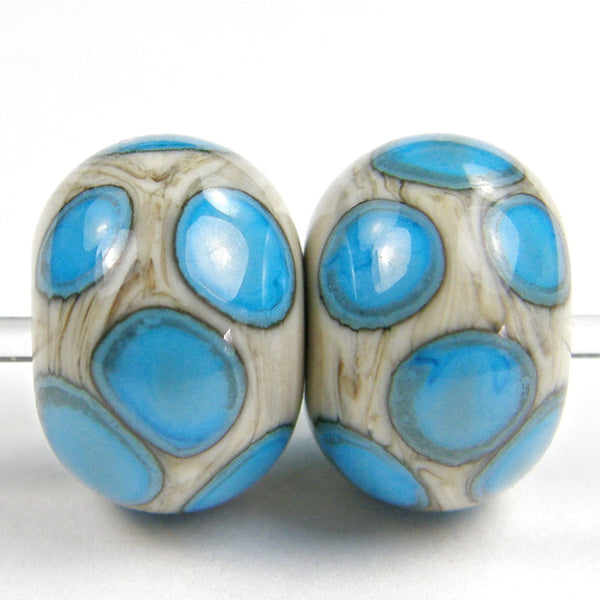 Handmade Lampwork Glass Dot Beads, Fossil Ivory Sky Blue Shiny