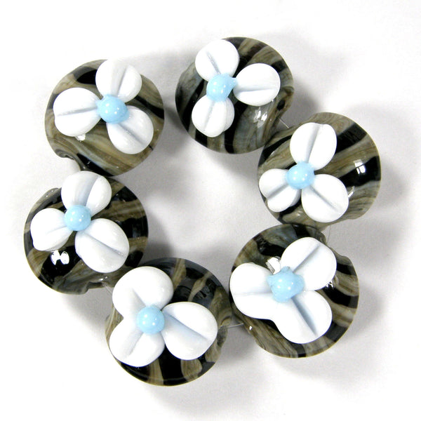 Handmade Lampwork Glass Lentil Beads, White Flowers Black Stripes Fossil Ivory