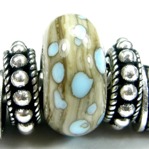 Handmade Large Hole Lampwork Beads, Glass Slider Charm Fossil Ivory Sky Blue Shiny