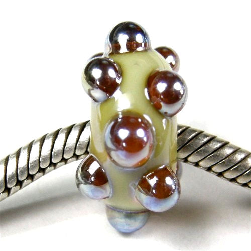 Handmade Large Hole Lampwork Beads, Glass Charms, Fumed Pearl Gray Dots