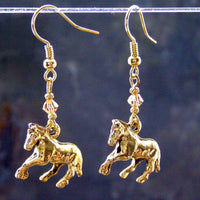 Golden Galloping Horse Dangle Earrings, Topaz Swarovski Crystals, Handmade Jewelry