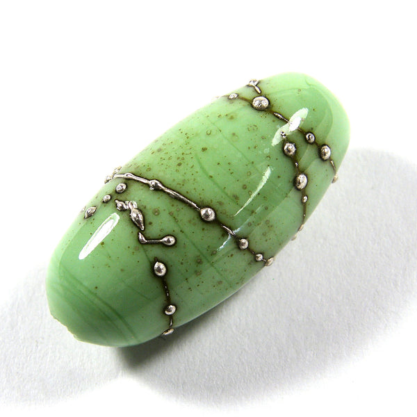 Handmade Lampwork Glass Focal Beads, Grasshopper Green Silver Oblong