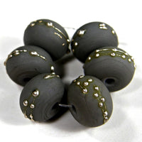 Handmade Lampwork Glass Beads, Dark Gray Silver Etched Matte 252efs