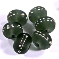 Handmade Lampwork Glass Beads, Dark Steel Gray Shiny Glossy 088g
