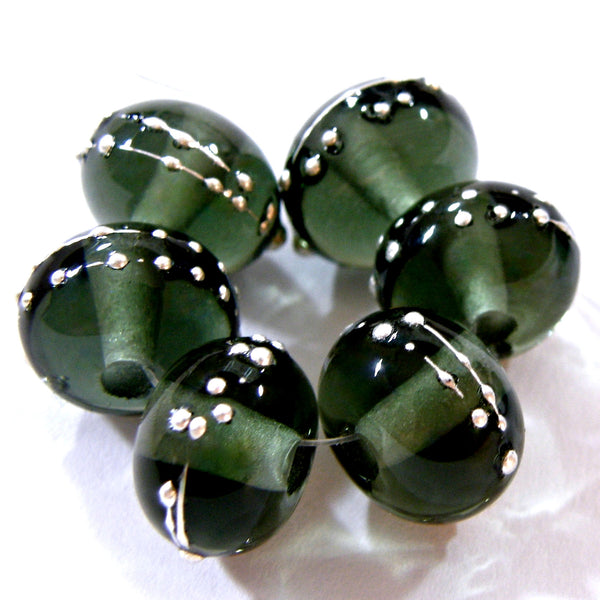 Handmade Lampwork Glass Beads, Dark Steel Gray Silver Shiny 088gfs