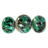Handmade Lampwork Glass Beads, Petroleum Green Black Gray Webs Set