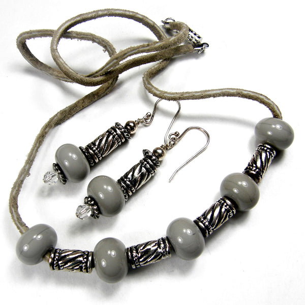 Retro Boho Gray Lampwork Necklace Earrings Jewelry Set