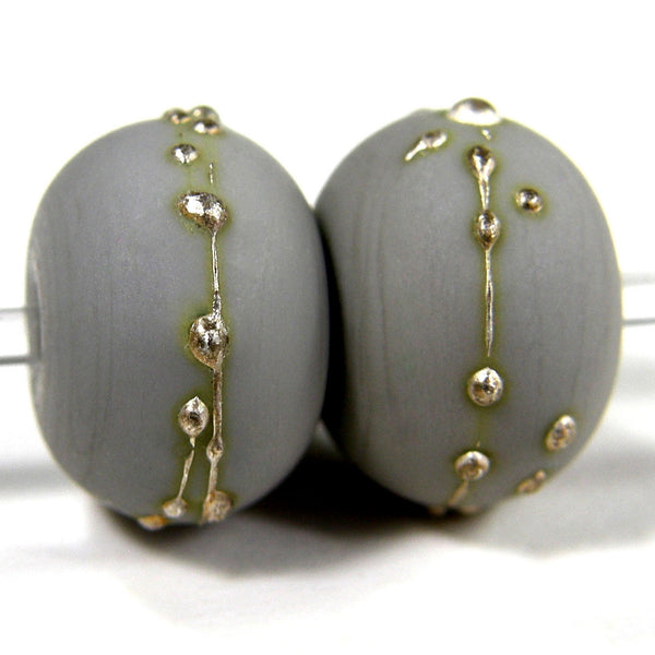 Handmade Lampwork Glass Beads, Light Gray, Silver Etched Matte 248efs