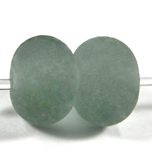 Handmade Lampwork Glass Beads, Light Steel Gray Etched Matte 084e