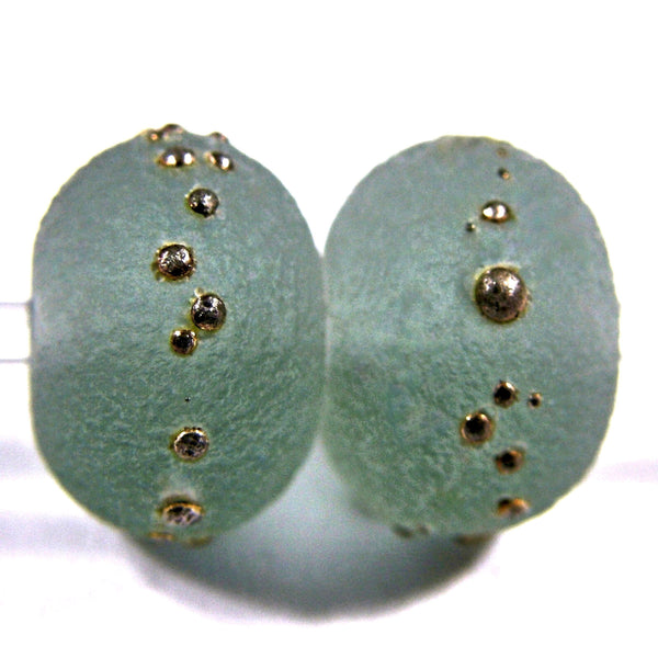 Handmade Lampwork Glass Beads, Light Steel Gray Silver Etched 084efs
