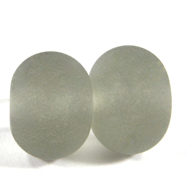Handmade Lampwork Glass Beads, Transparent Gray Etched 048e